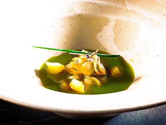 berberechos sobre una ensalada licuada